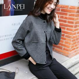 兰佩无领双面羊绒大衣女2020年新款千鸟格短款小个子格子毛呢外套