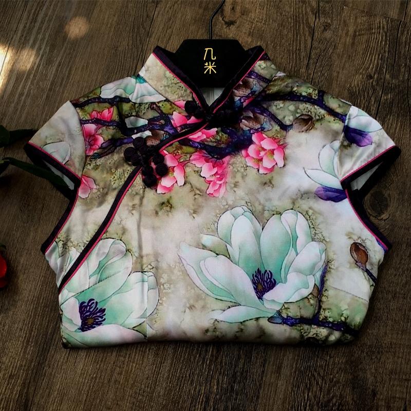 老上海真丝旗袍夏季2018新款女时尚修身短款性感年轻少女连衣裙