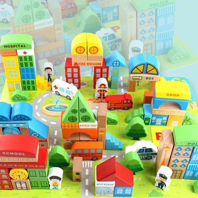 大块城市交通场景拼搭积木制益智儿童木质宝宝玩具1-2-3-4-6周岁