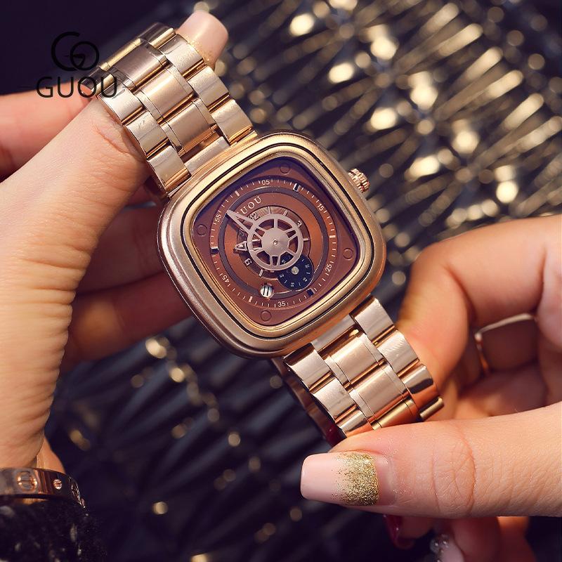 guou方形欧美时尚钢带防水手表日历个性潮流男女中性情侣手表