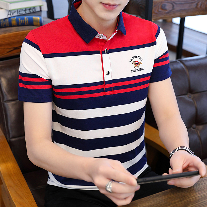 Embroidered horse riding t-shirt mens short sleeve summer middle age polo shirt fathers pure cotton Stripe Mens Polo Shirt