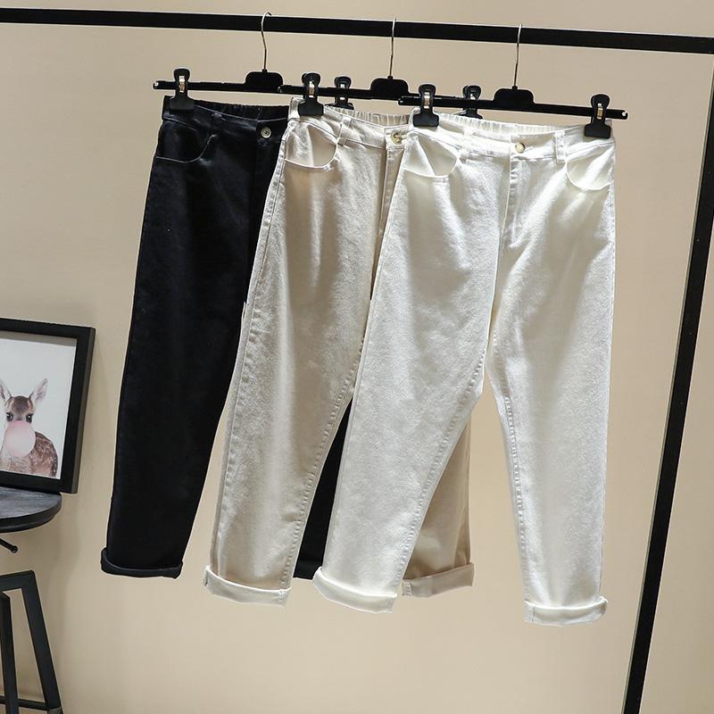 米白色老爹褲九分2019秋季新款高腰女士牛仔褲白色哈倫褲寬松顯瘦