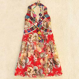 夏季棉麻波西米亚民族风情百搭挂脖长款背心上衣复古吊带背心女装