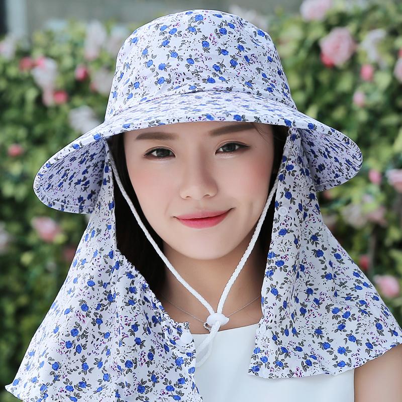 夏季女防紫外线遮阳帽太阳帽骑车防风帽防晒遮脸帽子布帽采茶帽