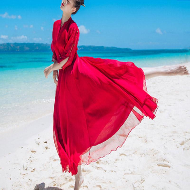 BG红色连衣裙2018新款女装春款海边度假裙韩国超仙礼服名媛小香风