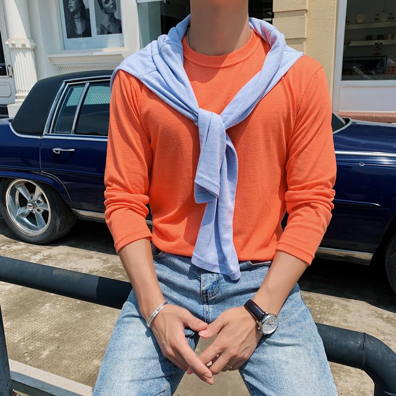 夏季男生薄款透气T恤纯色休闲轻熟圆领长袖防晒T恤汗衫T800-P38