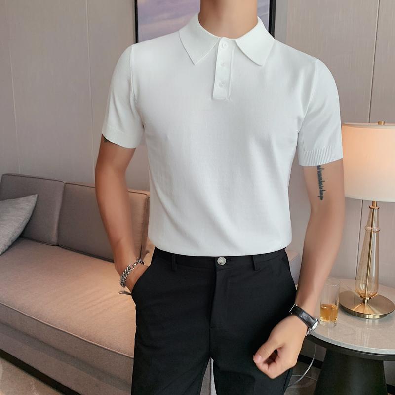 夏季型男短袖针织纯色POLO衫轻熟风 英伦修身翻领冰丝T恤 389-P53