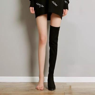 高筒过膝靴女长靴显瘦弹力靴女粗跟2020秋冬新款骑士靴长筒瘦瘦靴