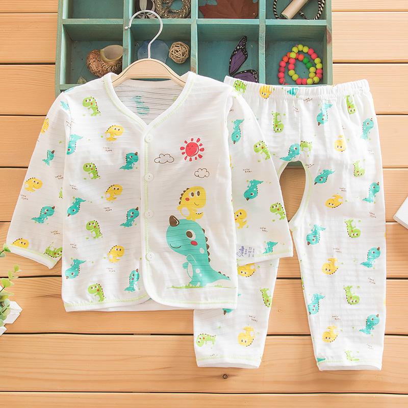 包邮娃丽比夏季超薄宝宝纯棉开胸开裆套婴儿两件套内衣套装竹节棉