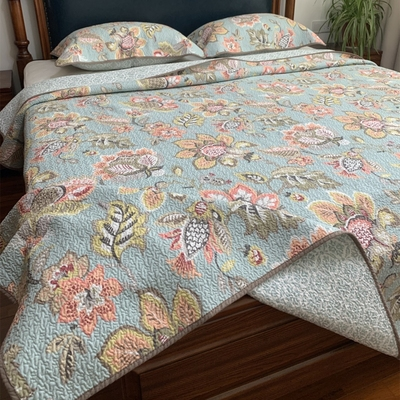 BUBU exports pure cotton summer cool quilt, American quilted quilt, double 1.5m European and American bed cover, three-piece summer bedding set