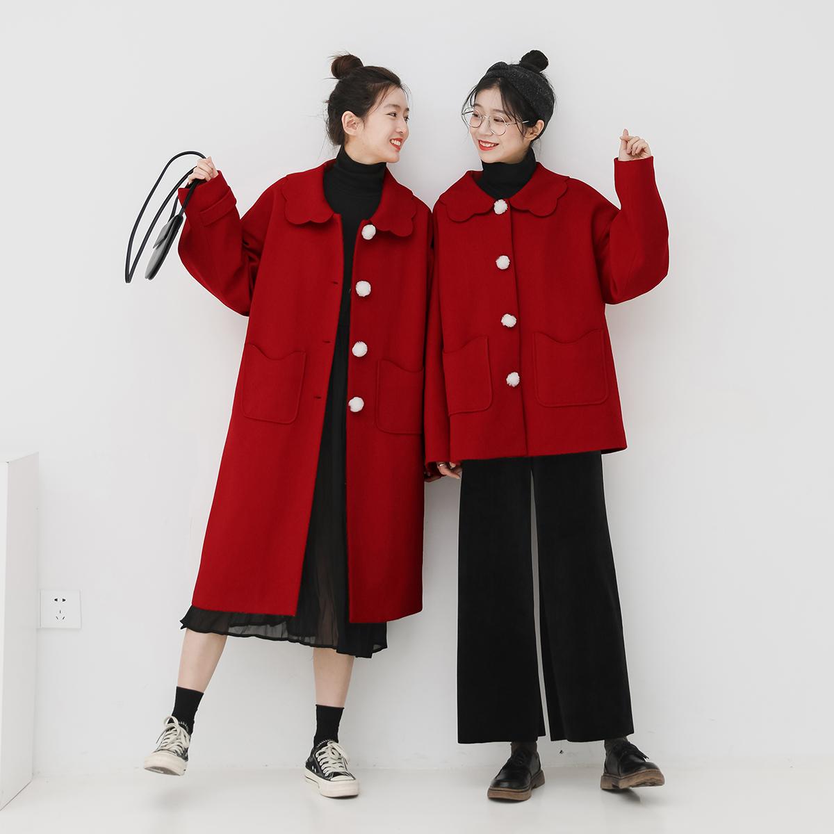 金大班飞雪2019冬新款复古新年红色娃娃领长短款毛呢子大衣外套女