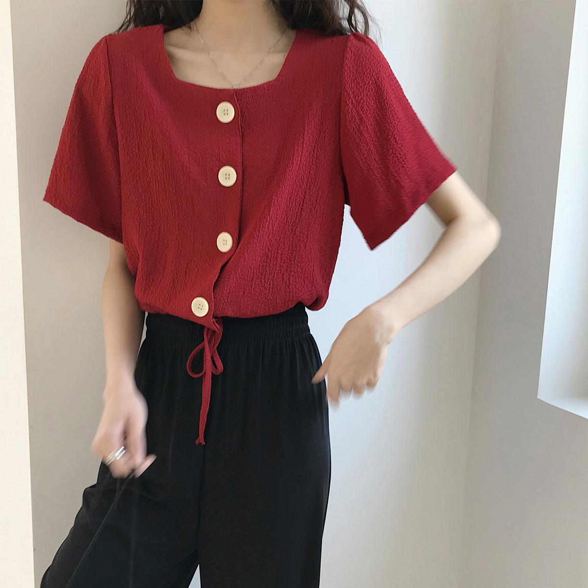 【法式方领抽绳】金大班天荷2020夏红色短袖设计感小众衬衫上衣女