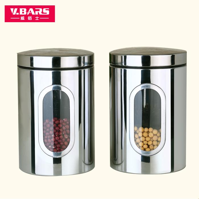 威佰士不鏽鋼密封罐 幹果茶葉零食品收納盒 宜家透明廚房大儲物瓶