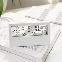 日式简约现代多功能电子时钟学生数字桌面用卧室静音透明小型闹钟