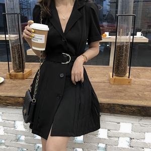 连衣裙女夏2019新款韩版西装领单排扣宽松?#21487;?#26174;瘦中裙腰带