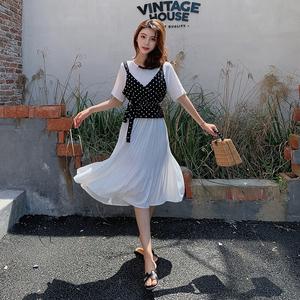 2019新款韩版夏季套装波点吊带上衣+百褶收腰连衣裙女两件套