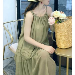 2019夏季新款韩版吊带连衣裙时尚套装两件套女+宽松圆领T恤