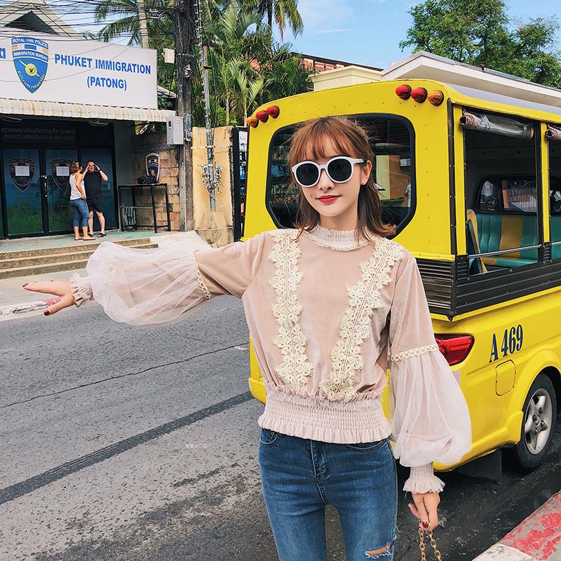 F6252 2018春季新款韩版女装长袖圆领蕾丝网纱灯笼袖卫衣女