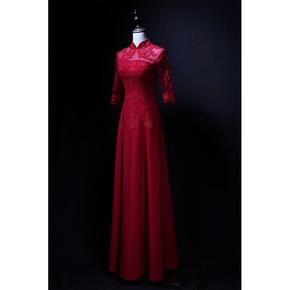 【芸裳】齐地拉链款五分袖蕾丝中式旗袍领新娘结婚敬酒服晚礼服