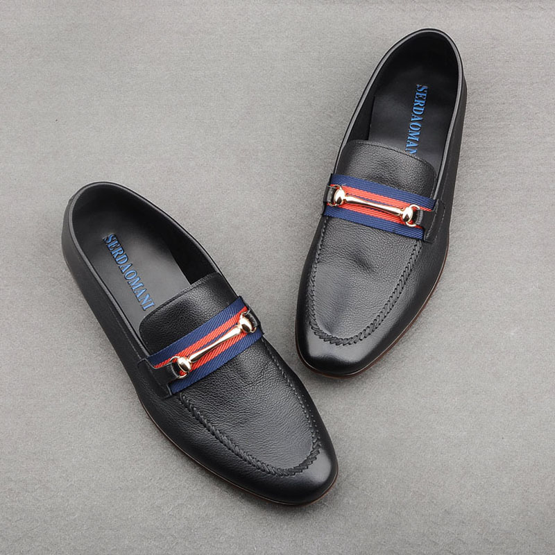 2020春夏新款潮流休闲一脚蹬男鞋透气软牛皮鞋子乐福鞋套脚懒人鞋