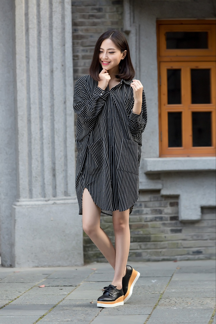 Spring and autumn Korean loose size womens wear long length sleeve striped dress thin bottomed shirt skirt