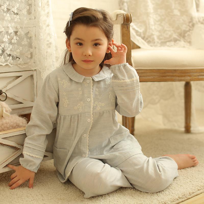 刺绣儿童女童纯棉睡衣长袖套装春秋薄款 夏季少女孩家居服母女款