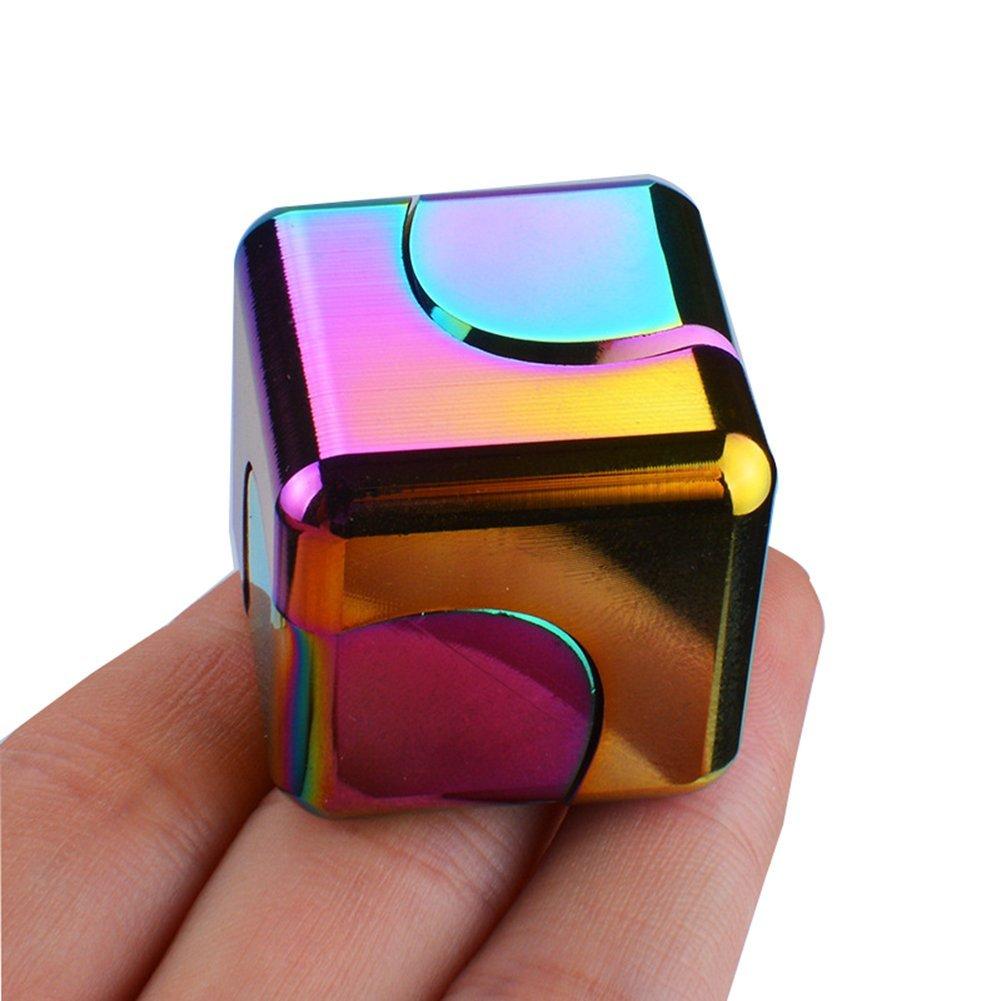 指间陀螺旋转魔方指尖陀螺炫彩手指陀螺edc减压玩具正方形合金