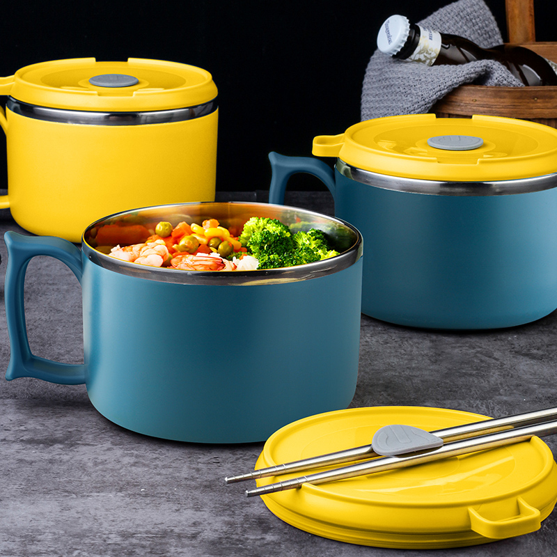 304不锈钢泡面碗日式餐具单个宿舍学生用饭盒碗筷套装带盖食堂打图片