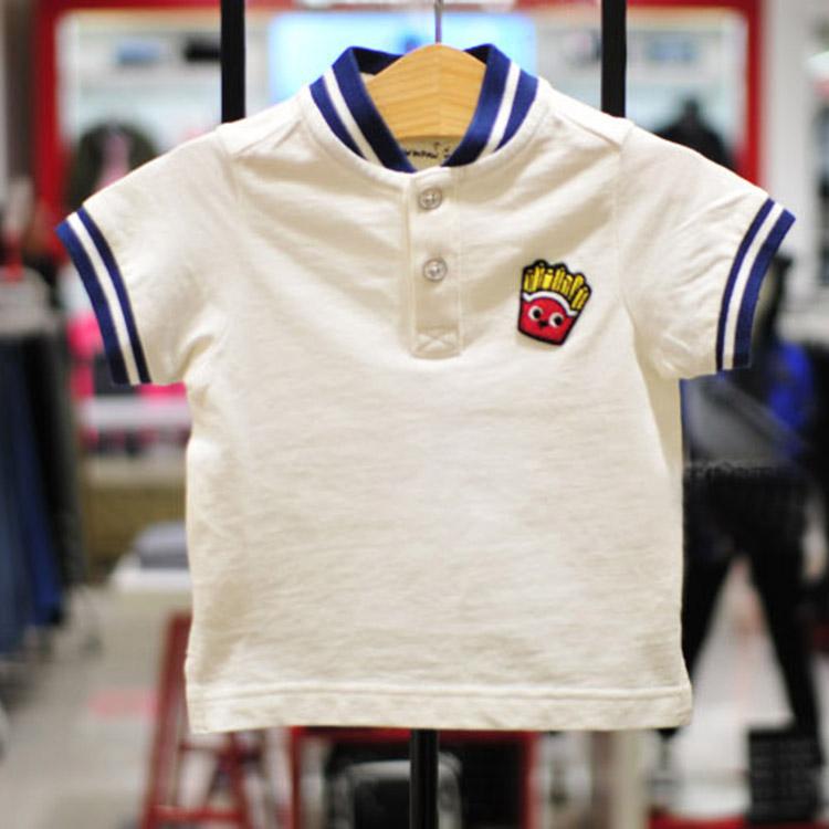 儿童T恤2017夏季新款男童全棉运动刺绣小立领POLO衫童装棉打底衫