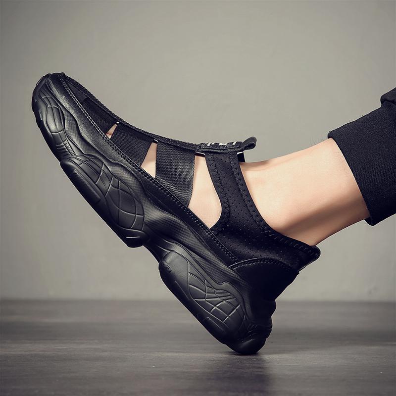 凉鞋男夏外穿懒人凉拖潮流韩版男鞋沙滩凉鞋防滑个性室外半拖洞洞 - 封面
