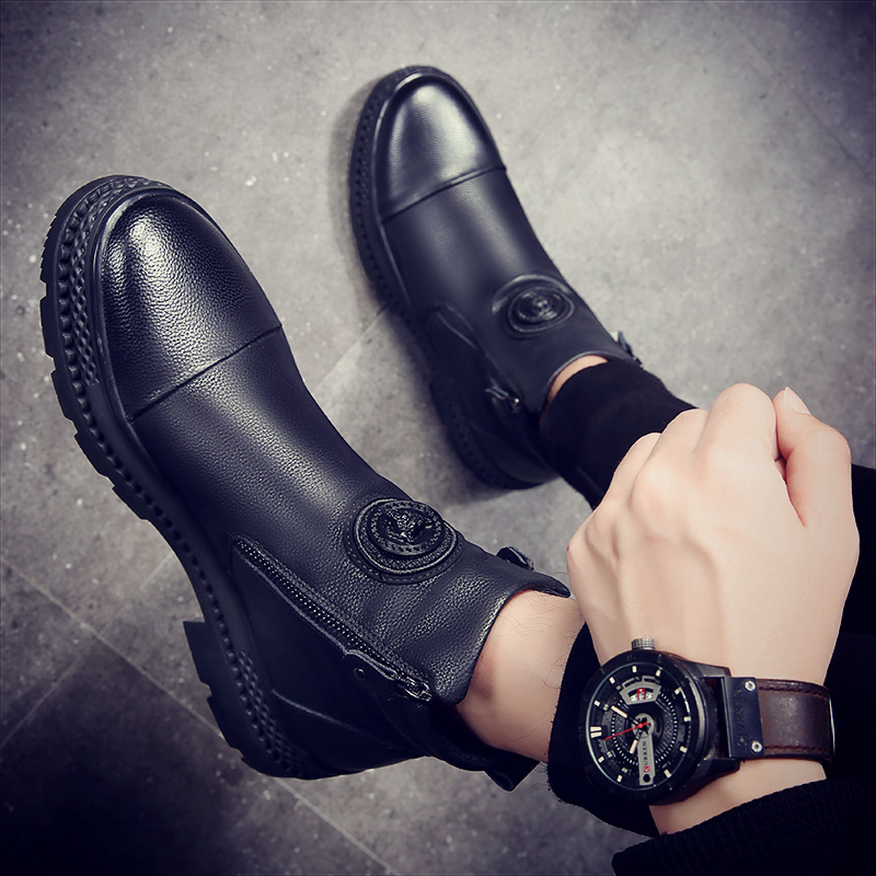 Mens high top leather shoes boots 2018 Martin boots Snow Boots Mens mid top Chelsea winter new fashion British style