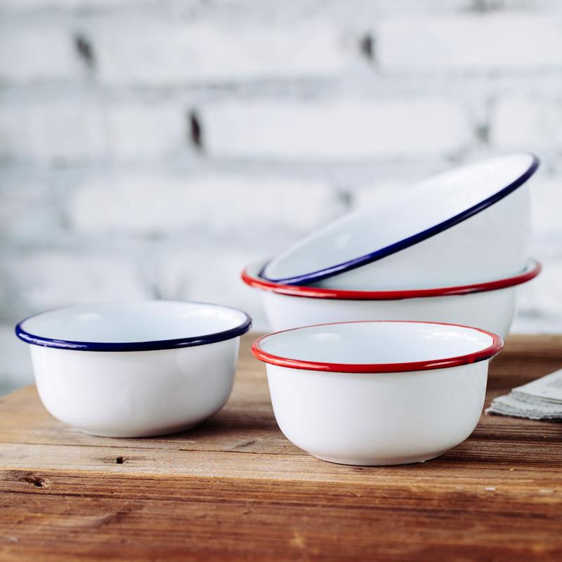 15.50元包邮树可珐琅 红蓝边搪瓷碗家用儿童小饭碗单个汤碗面碗加厚甜品碗大