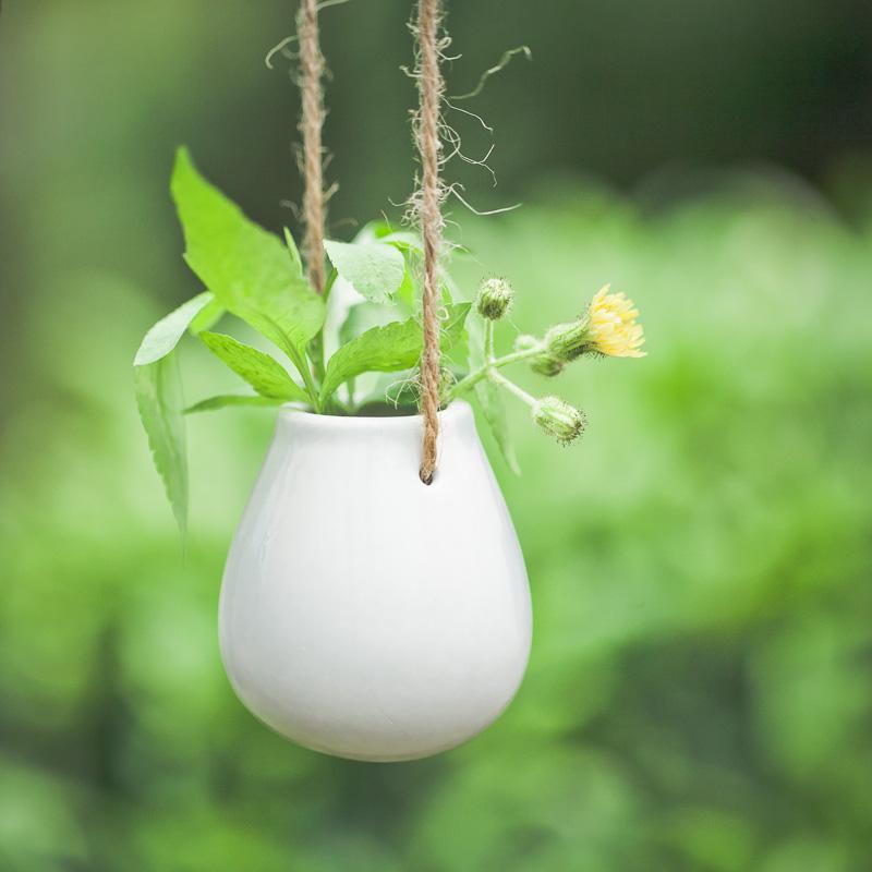 树可 2只装陶瓷蛋形花瓶白色可爱吊挂小水培花器 日式杂货