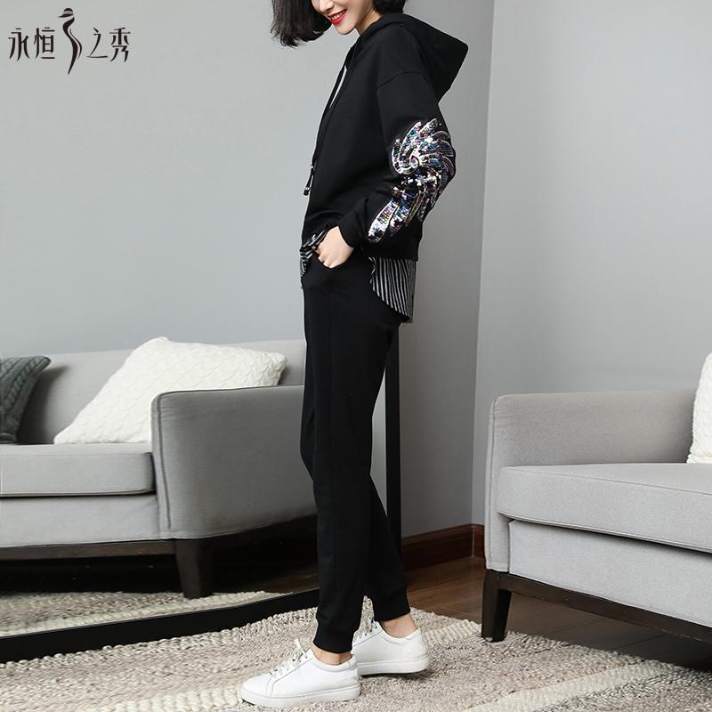 永恒之秀大码女装秋装2017新款潮套装女25-30岁胖MM洋气套装显瘦