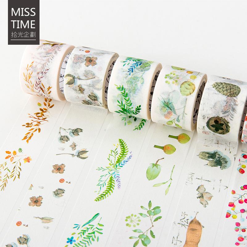 拾光原创自然赠物清新果实蘑菇手账和纸胶带 DIY笔记本子装饰素材