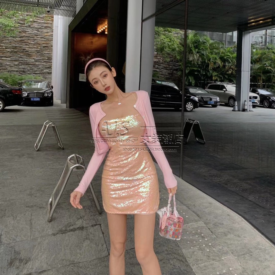 Spring / summer 2020 new heavy industry sequins foreign style small sexy lady Mermaid Dress