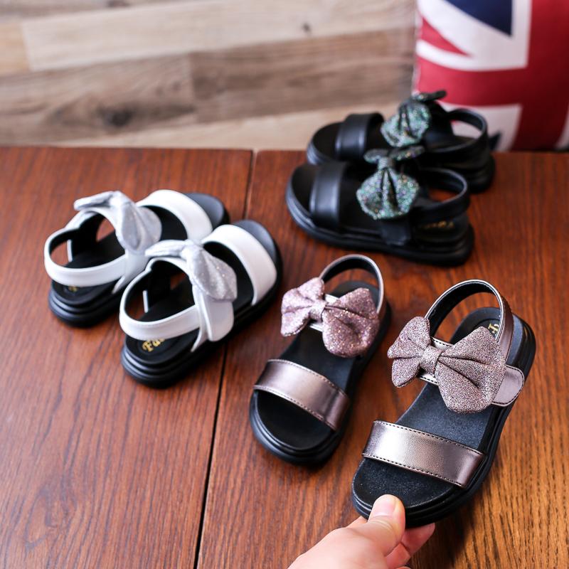 女童凉鞋2019夏季新款童鞋蝴蝶结时尚儿童中大童公主小女孩沙滩鞋