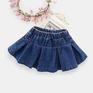 女童百褶裙學院春夏兒童童裙牛仔半身裙短裙2020夏季新款外貿童裝