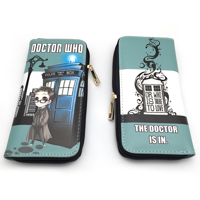 Mysterious doctor wallet Castle time and space zipper long zipper double fold color poster wallet Amazon