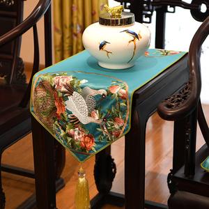 新古典绣花桌旗中国风中式桌布餐桌电视柜盖布茶几布艺床旗包邮
