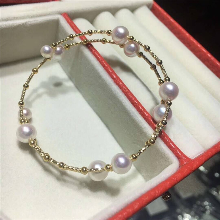 Elastic Bracelet big bead 7.5-8mm small bead 5-6mm 18K gold tube gold ball Japanese seawater pearl