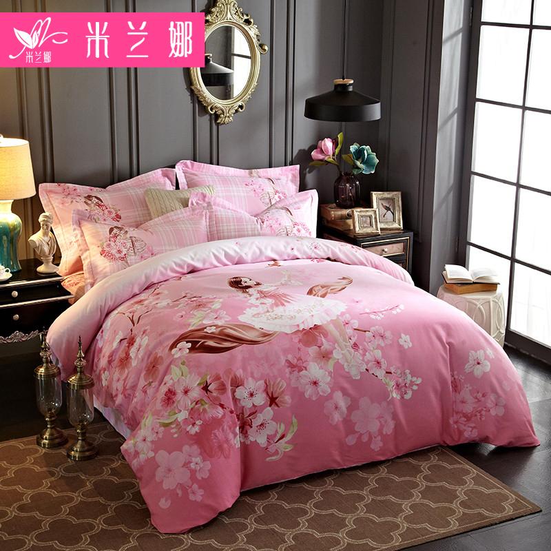 米兰娜全棉磨毛四件套1.8m2.0被套床单双人床婚庆纯棉1.5床上用品