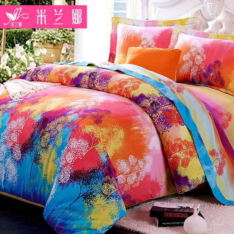 米兰娜全棉加厚磨毛四件套 1.5/1.8米纯棉床单被套婚庆床上四件套