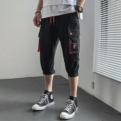 夏季潮流休閑七分褲 男生哈倫立體口袋工裝短褲DK708P35