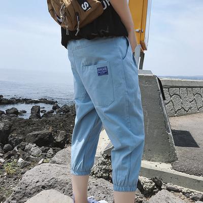 夏季潮流休闲七分裤 男生束脚裤ins超火的短裤K161P35