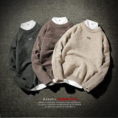 冬季男士套头加厚毛衣个性字母刺绣圆领针织衫M221P55