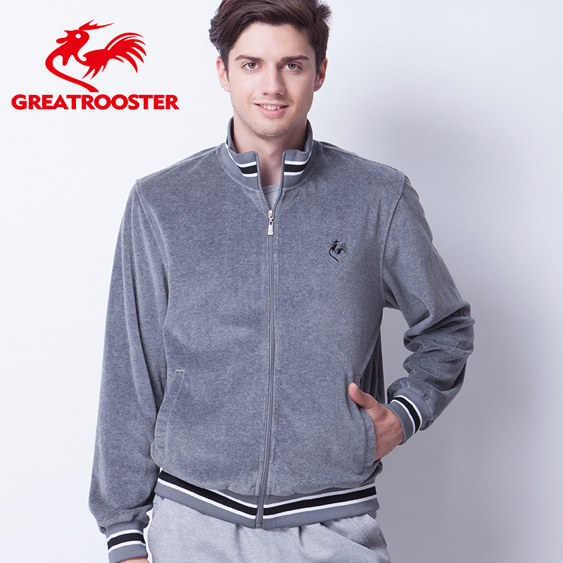 French Rooster spring and autumn cotton sports jacket mens Mock Neck Sweater Rooster velvet dad casual business coat