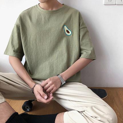子俊夏季新款牛油果刺绣短袖潮t恤