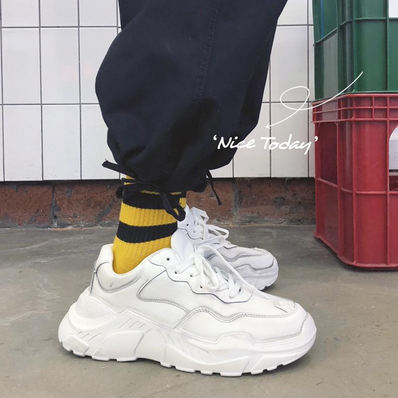 2019春季新款做旧老爹运动鞋男士韩版学生百搭跑步鞋厚底小白鞋子
