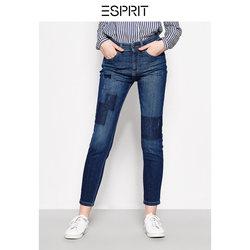 ESPRIT 女装2018夏贴布做旧补丁直筒修身牛仔裤-038EE1B037
